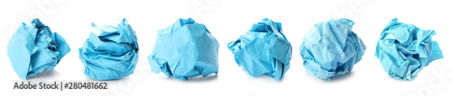 Photo Set with blue paper balls on white background. Banner design