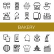 Set of bakery icons such as Pastry, Wedding cake, Muffin, Oven mitt, Dough, Chef, Restaurant, Toast, Pie, Wine menu, Churros, Chef hat, Round bread, Dessert, Bread , bakery