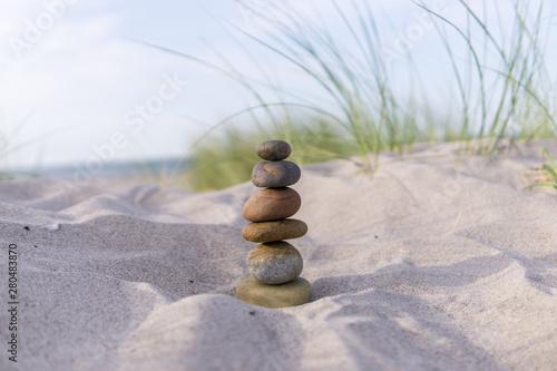 Garden Poster Stones in Sand Steinmännchen in den Dünen, Ostsee