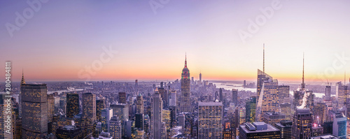 Sunset en Eempire State panoramic - Tablou Canvas