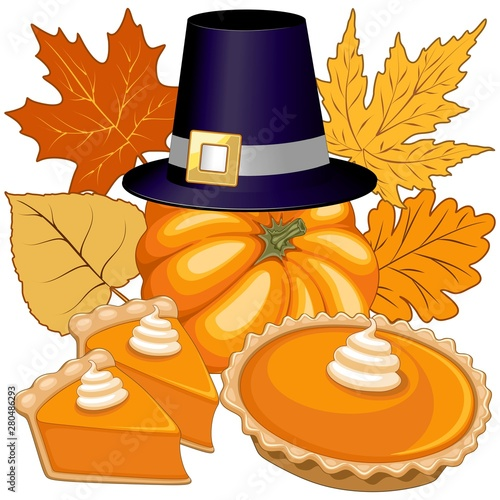 Foto auf AluDibond Ziehen Halloween Thanksgiving Pumpkin pie Holidays Composition Vector Illustration