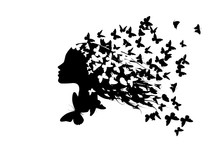 Beautiful Girl's Profile Silhouette With Butterflies Flying From Her Hair Isolated On White Background - Vector Illustration