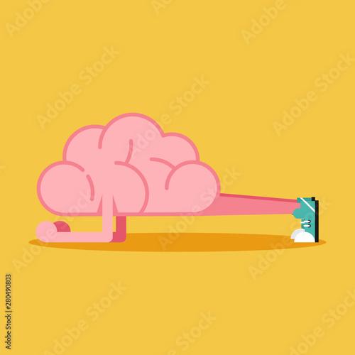 Obraz Brain training with planking flat design. Creative idea concept - fototapety do salonu