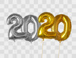 Gold and silver foil balloons number 2020