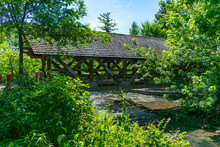 Covered Bridge With Trees Alon...
