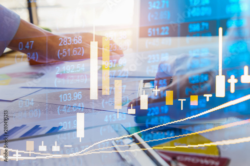 Fototapeta Stock market or forex trading graph and candlestick chart suitable for financial investment concept. Economy trends background for business idea and all art work design. Abstract finance background.. obraz