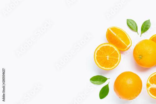 Fresh orange citrus fruit with leaves isolated on white background. - 280504627