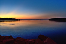 Sunset Over Water In Oklahoma