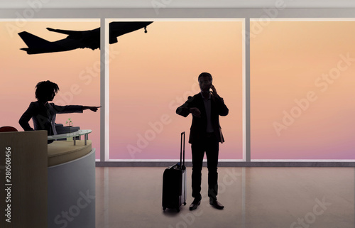 Stressed out businessman passenger arguing with a flight attendant or receptionist at an airport check in counter Canvas Print