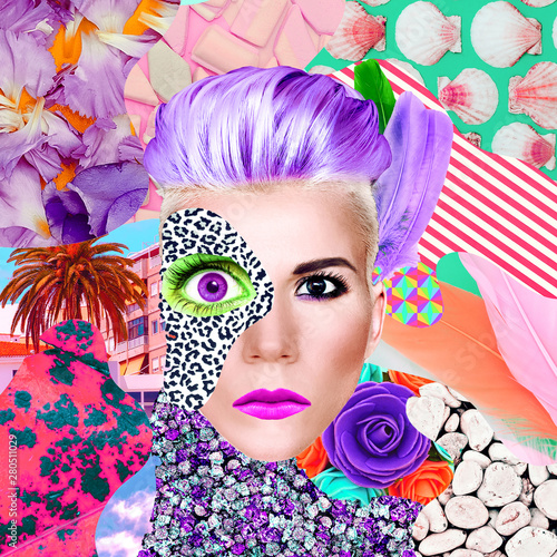 Kolaż sztuki współczesnej. Pani surrealistyczna i tekstury. Zine art