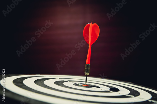 Fotografie, Obraz  Red dart arrow hitting the target center on vintage style bullseye for Business focus concept