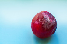 Red Nectarine Covered With Mold On A Blue Background