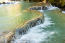 Beautiful Landscape Of Kuang Si Falls An Iconic Popular Waterfalls In The Jungle Park Nearly Luang Prabang Town, In North Central Laos.