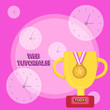 Leinwanddruck Bild - Writing note showing Web Tutorials. Business concept for Self study activity aimed to teach a specific learning outcome Trophy Cup on Pedestal with Plaque Medal with Striped Ribbon