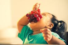 Kid Eating Grape Funny Vintage Style