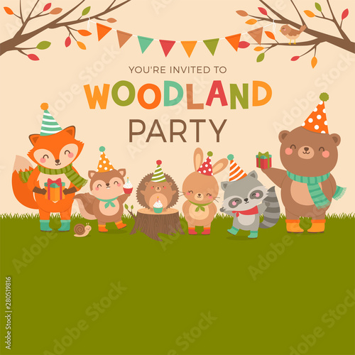 Fototapeta Cute Woodland Cartoon Animals For Kids Party Invitation Card Template Autumn Season Hand Drawn Illustration