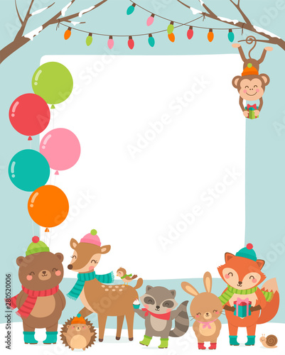 Cute Wildlife Cartoon Animals Border Design For Party