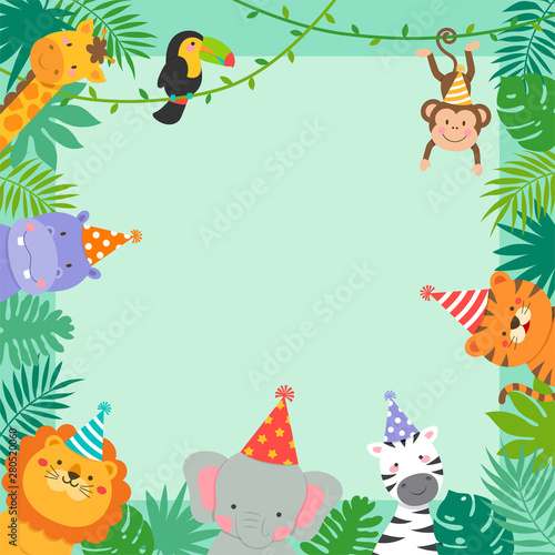 Fototapeta Frame Border Of Cute Jungle Animals Cartoon And Tropical Leaves For Kids Party Invitation Card Template