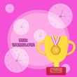 Leinwanddruck Bild - Writing note showing User Workflow. Business concept for orchestrated and repeatable pattern of business activity Trophy Cup on Pedestal with Plaque Medal with Striped Ribbon