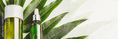 Poster Vegetal Hair Serum and shampoo. Natural care hair and skin. Concept hair restoration. Banner