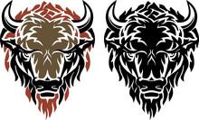 Black Bison Head Mascot