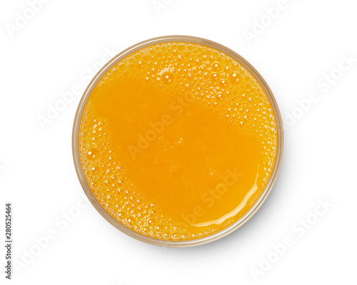 Photo sur Toile Biere, Cidre glass of fresh orange juice isolated on white background, top view