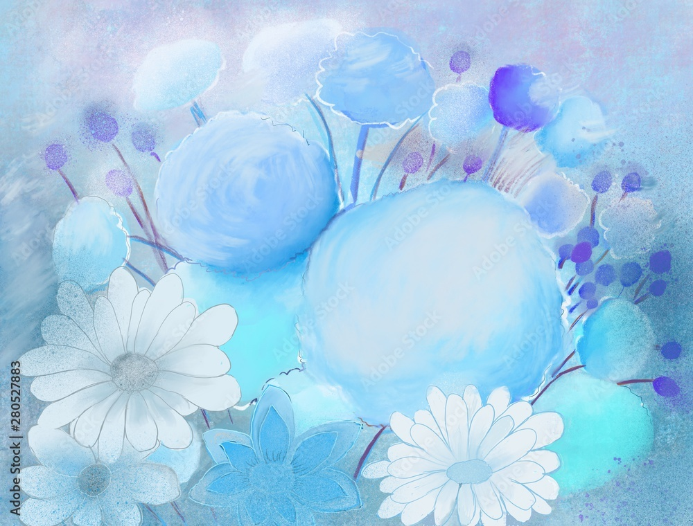 Blue pastel flowers painting