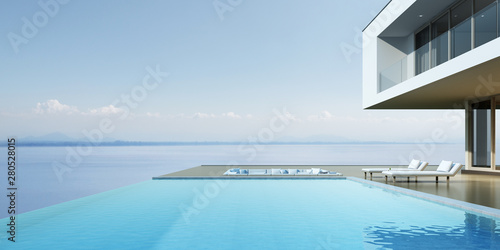 Foto auf AluDibond Pool Perspective of luxury modern house with overflow swimming pool and sofa on sea view background, Idea of minimal architecture design. 3D rendering