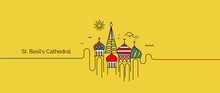 St Basil's Cathedral, Red Square, Moscow, Russia. Flat Line Art Vector Illustration