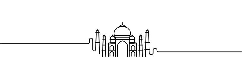 Taj Mahal ręcznie rysowane, Indie Agra - ilustracja wektorowa sztuki linii.
