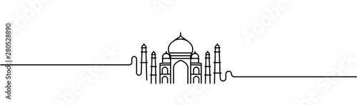 Stampa su Tela Taj Mahal Hand Drawn, India Agra - Line art vector illustration.