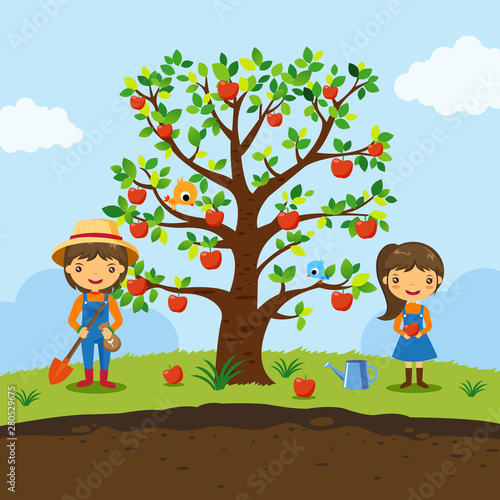 Apple Tree And Farmers Working In A Farm Garden Fruit Cartoon Characters Vector Buy This Stock Vector And Explore Similar Vectors At Adobe Stock Adobe Stock Catch the magic of williams tree farm in 30 seconds. apple tree and farmers working in a