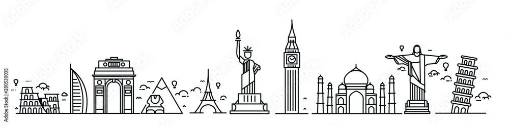 Fototapeta Travel the world monument concept - Vector Flat Line Art Design.