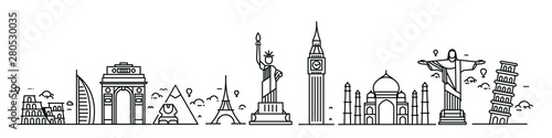 Travel the world monument concept - Vector Flat Line Art Design. Canvas Print