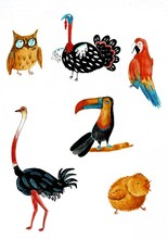 A Set Of Watercolor Birds On A...