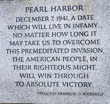 FDR Infamy Quote World War II Memorial National Mall Washington DC