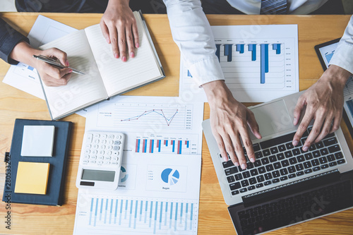 Professional executive Business colleague team working and analyzing with new project of accounting finance, Idea presentation and meeting strategy plan of financial business investment - 280533242