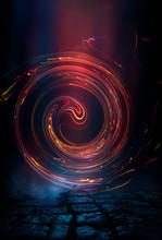 Dark Night Street Scene, Abstract Neon Light In The Dark, Reflected On A Wet Surface. Fireball, Neon Circle, Abstract Light Tunnel.