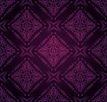Dark Purple Background Pattern, Damask Wallpaper