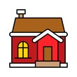 guest house exterior decoration Christmas filled editable outline icon.