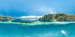 Leinwandbild Motiv Epic aerial spherical panorama of blue lagoons and limestone cliffs of Coron, Palawan, Philippines. Full 360 panorama.