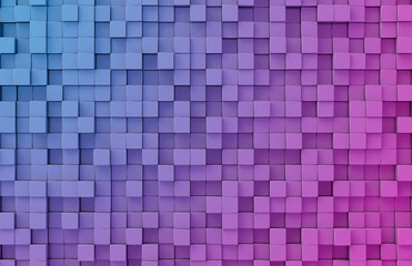 Glowing black blue and pink squares background pattern 3D rendering