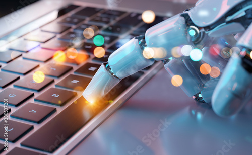 Wall Murals Equestrian Robotic hand pressing a keyboard on a laptop 3D rendering
