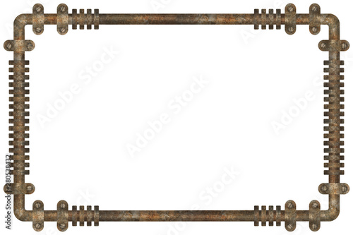Dark and rusty pipes on the wall abstract industrial steampunk background frame #280538432