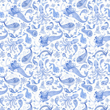 Seamless Wallpaper Pattern Of Indigo Blue Hand Painted Fairy Tale Sea Animals And Mermaid. Watercolor Fantasy Fish, Octopus, Coral, Sea Shells, Bubbles, Isolated On A White Background