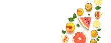 Tropical Summer Fruit Concept. Creative Layout Made Of Fresh Ripe Watermelon, Peach, Plum, Fig, Lemon, Grapefruit And Mint Leaves On White Background. Flat Lay, Top View, Copy Space. Food Background