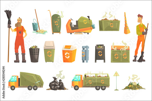 Fototapety, obrazy: Waste Recycling And Disposal Related Object Around Garbage Collector Man Set Of Cartoon Bright Icons