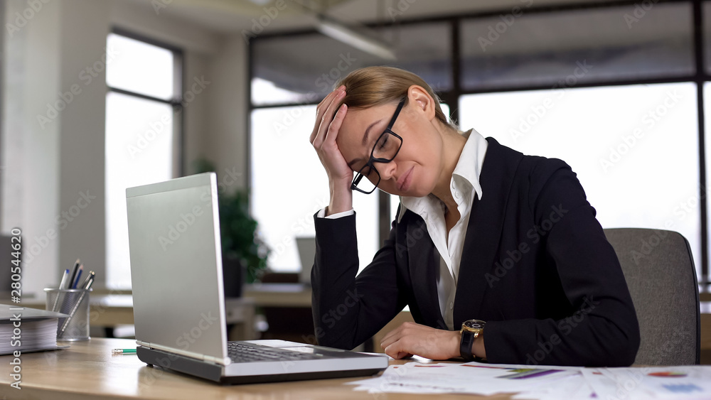 Fototapety, obrazy: Disappointed woman forgot about business meeting, feeling strong headache