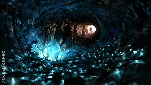 Photographie Mysterious blue crystal cave, stimulating adventure concept