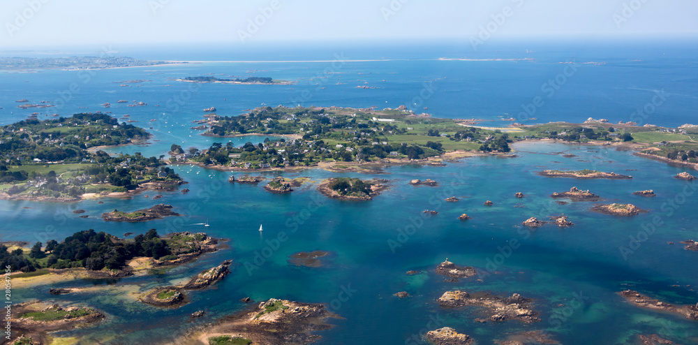Fototapety, obrazy: Aerial view of Ile de Bréhat in Brittany, France